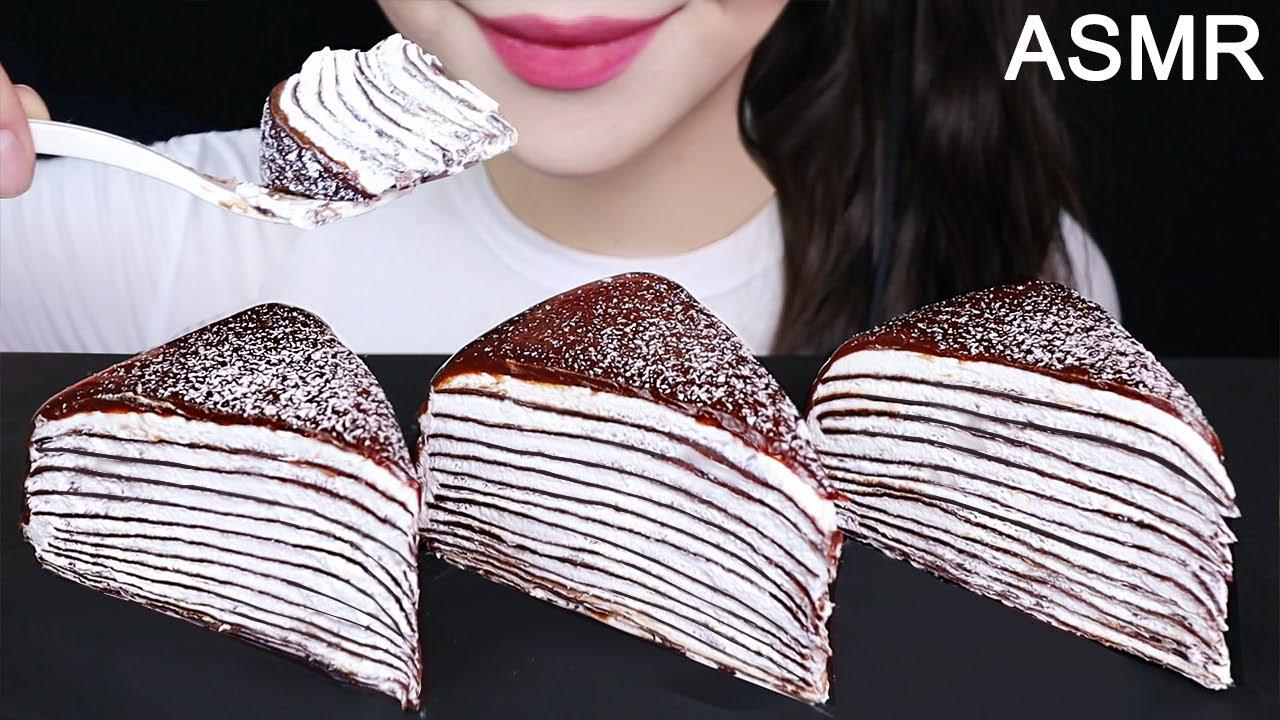 CHOCOLATE CREPE CAKE ASMR COOKING & MUKBANG 초콜릿 크레이프케이크 먹방(No Talking) SOFT EATING SOUNDS