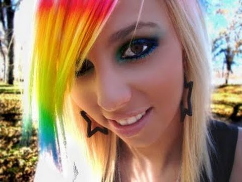 girls with rainbow colored hair