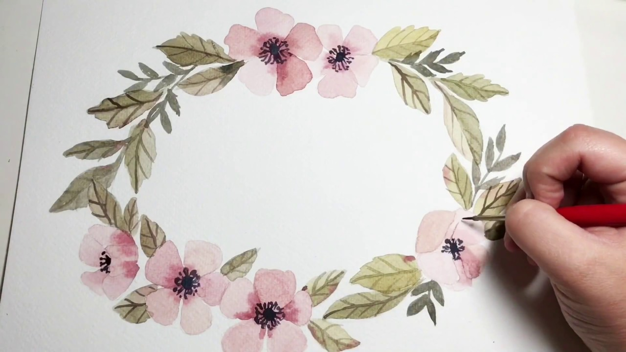 How To Paint A Fall Floral Watercolor Wreath Beginner Tutorial