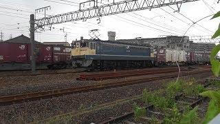 EF65(原色)牽引コンテナ列車(5087レ)、8052レと離合(1)
