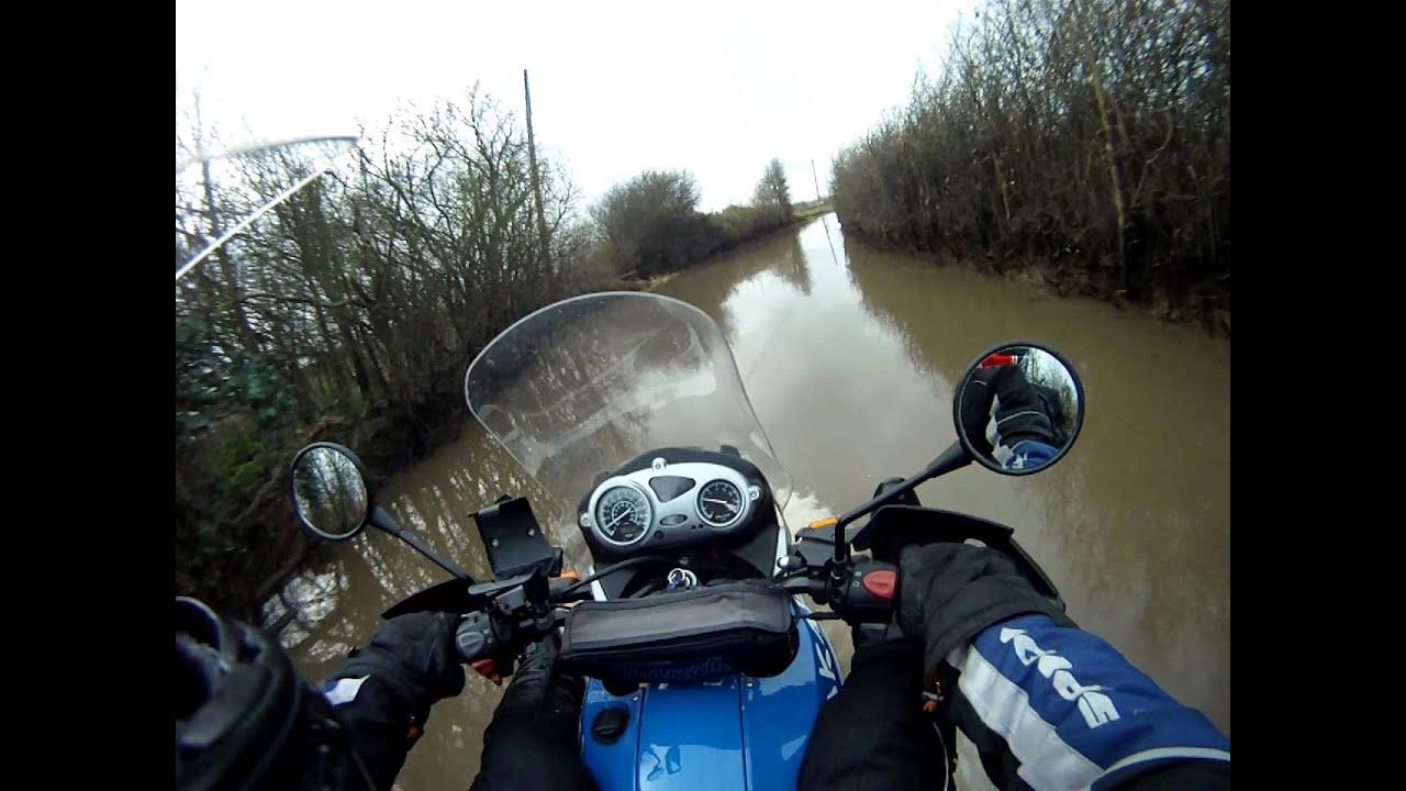 Flooded lane on a BMW F650GS Dakar  The SAAB didn't make it!