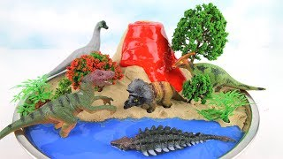 DIY VOLCANO ERUPTION with Lava. Learn Dinosaurs Volcano Science Kit for Kids Mini beach Kinetic Sand
