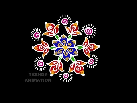 Simple and easy beginners rangoli design 7*4dots with colors |  Rangoli for beginners |