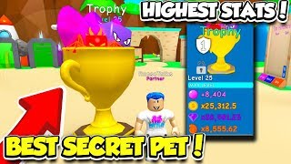 I GOT THE SECRET LIMITED TROPHY PET IN BUBBLE GUM SIMULATOR!! *BEST SECRET PET* (Roblox)