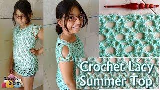 Crochet Lacy Summer Top - Right Handed Crochet Tutorial - Child Crochet