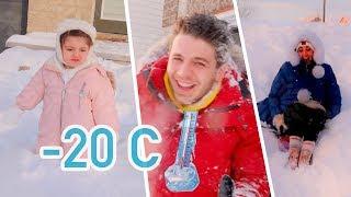 تجمدنا في العاصفة الثلجية❄️ (درجة حرارة سالب ٢٠ في كندا)