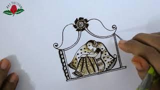 Learn bridal mehendi BRIDE SITTING in DOLI intricate mehndi design :English