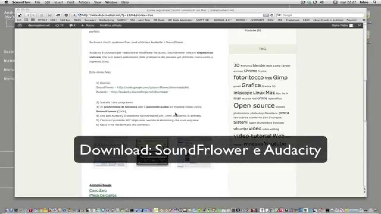 registrare l'audio interno del mac - youtube