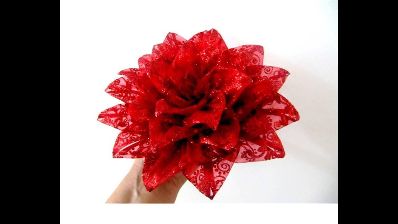 Moños Flores Nochebuena De Navidad En Cintas De Organza Brillante Youtube
