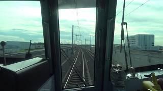 新幹線のような高架軌道を時速130k/mで研究学園駅~万博記念公園駅間を走行するつくばエクスプレス線上りTX2000系の前面展望