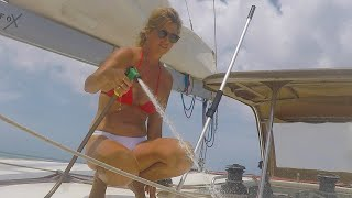 #cleaning #boatwork Boat LIFE in Aruba. We found water to clean the boat! Sailing Ocean Fox Ep 83