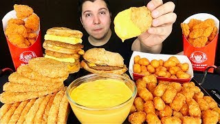 Cheesy Hash Browns & Cheesy Spicy Nuggets • MUKBANG