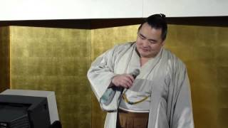 平成25年5月場所、千秋楽祝勝会で、鶴竜関が、小金沢さんのこの歌を熱唱...