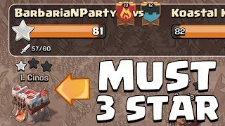 MUST 3 STAR TOP PLAYER TO WIN | Clash of Clans | Intense Clan War