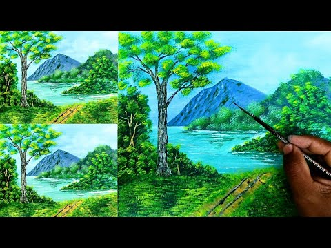 Acrylic Landscape Painting Lesson | Morning In Lake | Anas Kakkeriyil