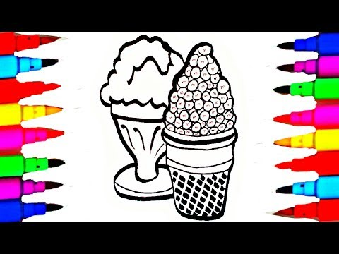 Learn Art l How To Draw and Color l M n' M's Ice Cream Coloring Pages Kids Drawing Children's Videos
