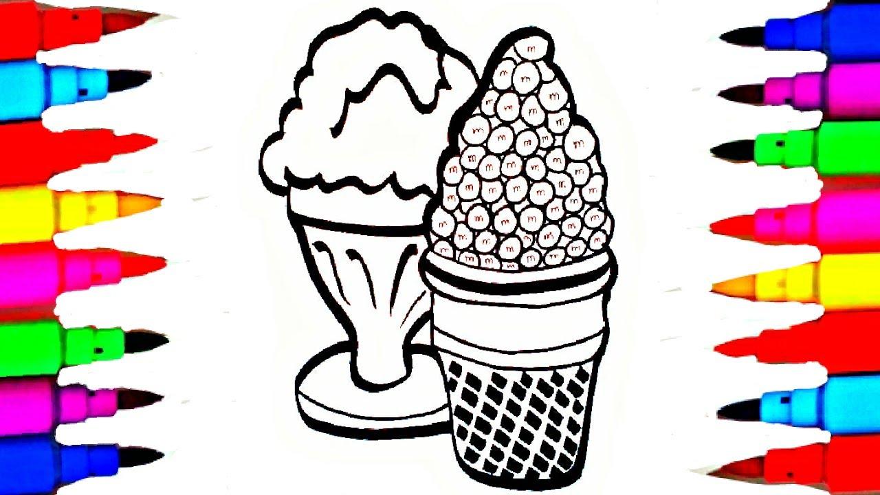 learn art l how to draw and color l m n u0027 m u0027s ice cream coloring