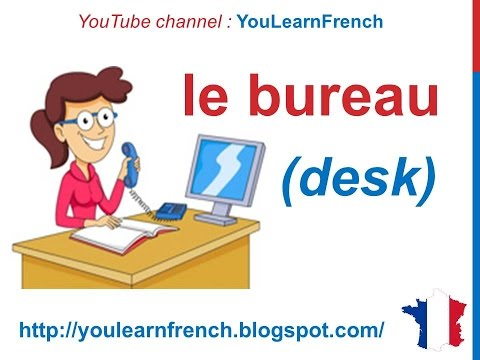 French Lesson 85 - Furniture in the study Office supplies st