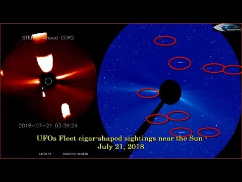 nouvel ordre mondial | UFOs Fleet cigar-shaped sightings near the Sun - July 21, 2018