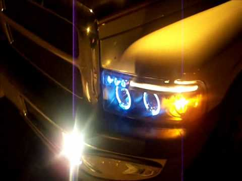 Halo Projector Headlights (dodge ram) - YouTube