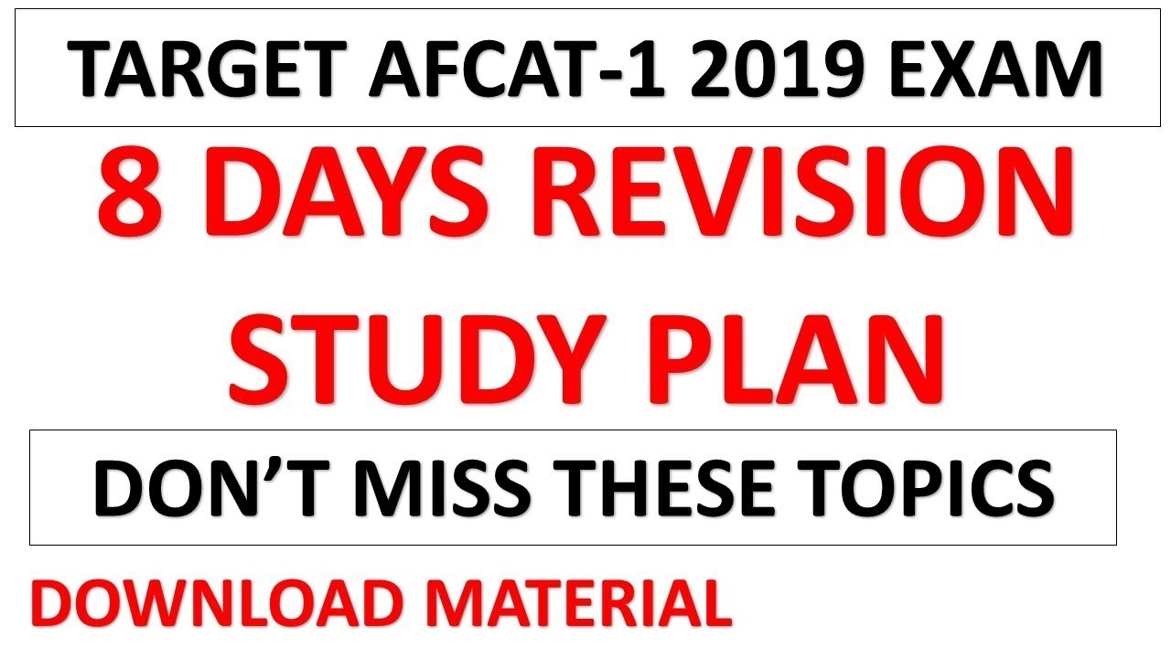 8 Days Best Revision Study Plan For AFCAT-1 2019 | Don't Miss these