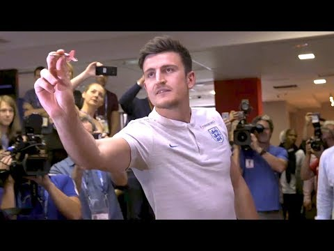 England Goalscorer Harry Maguire Plays Darts - Russia 2018 World Cup