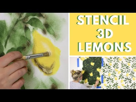How To Stencil 3D Lemons That Look Like Wallpaper