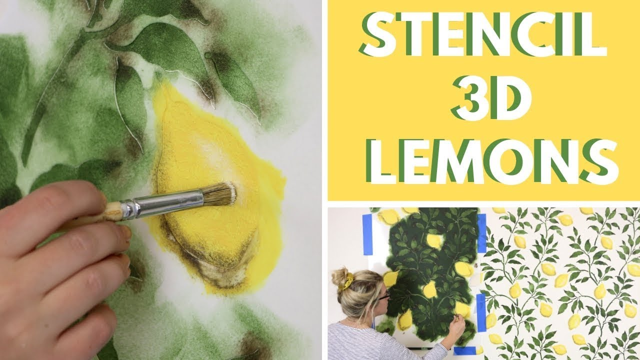 How To Stencil 3d Lemons That Look Like Wallpaper Youtube