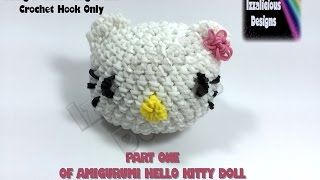 Rainbow Loom 3d Hello Kitty Amigurumi/loomigurumi  Head - Part One - Hook Only Loomless (loom-less)