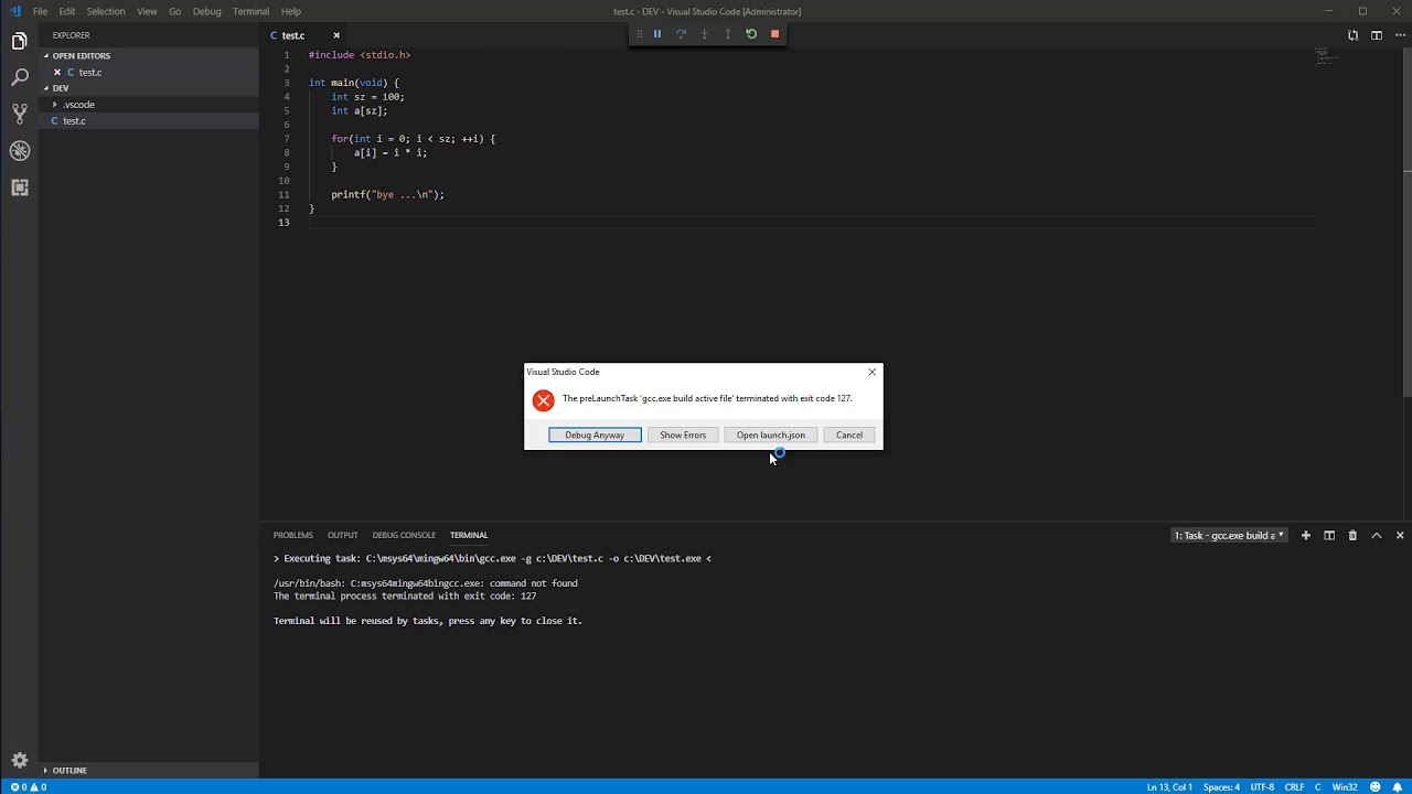 VS Code setup for C and C++ development – building and debugging in Windows with Clang MSYS2