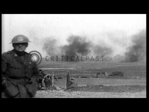 British artillerymen fire 18 pounders and 8 inch howitzers, near Monchy-le-Preux,...HD Stock Footage