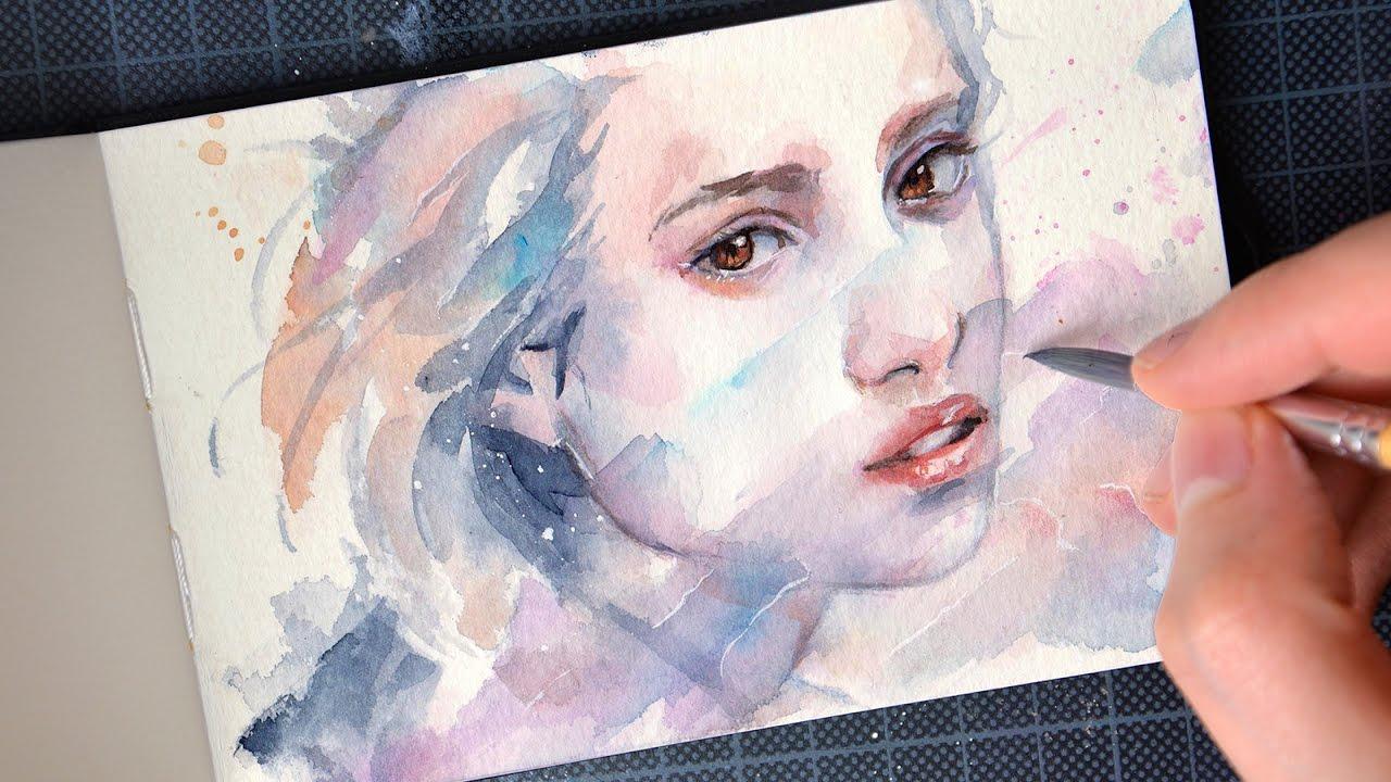 【watercolor portrait】 sensual youtube