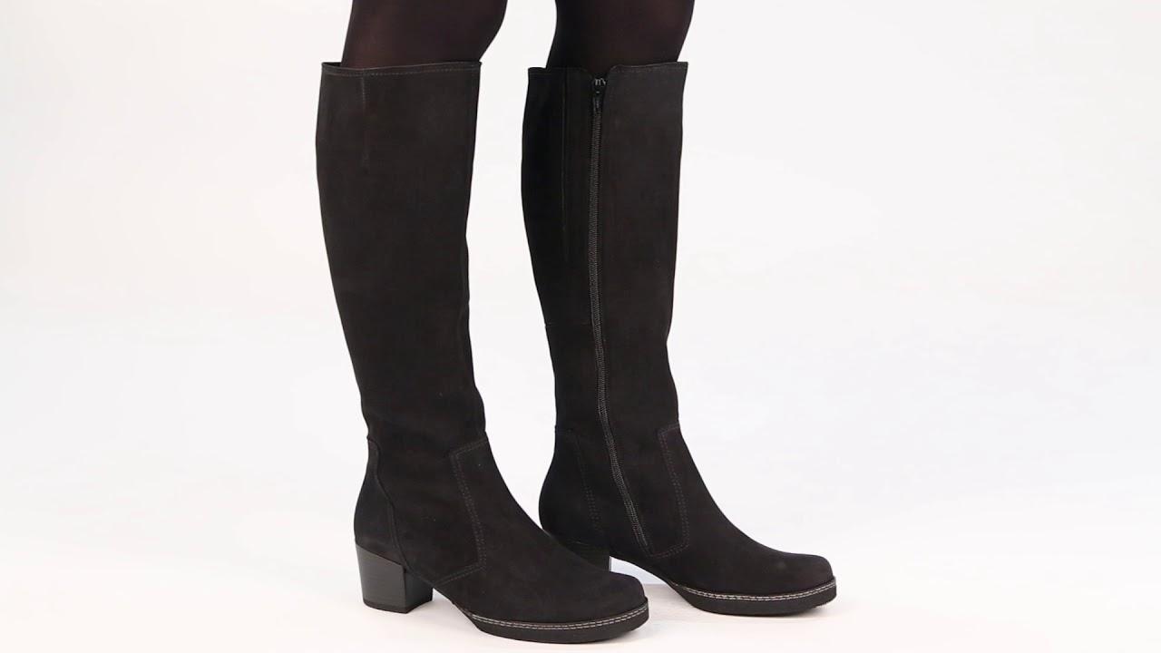 1d1ba971999 Gabor Paris Womens Black Nubuck Long Boots - YouTube