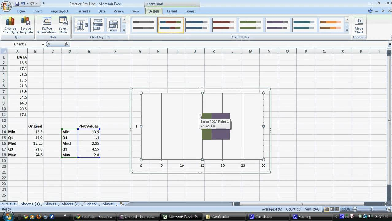 small resolution of construct a box plot on microsoft excel 2007
