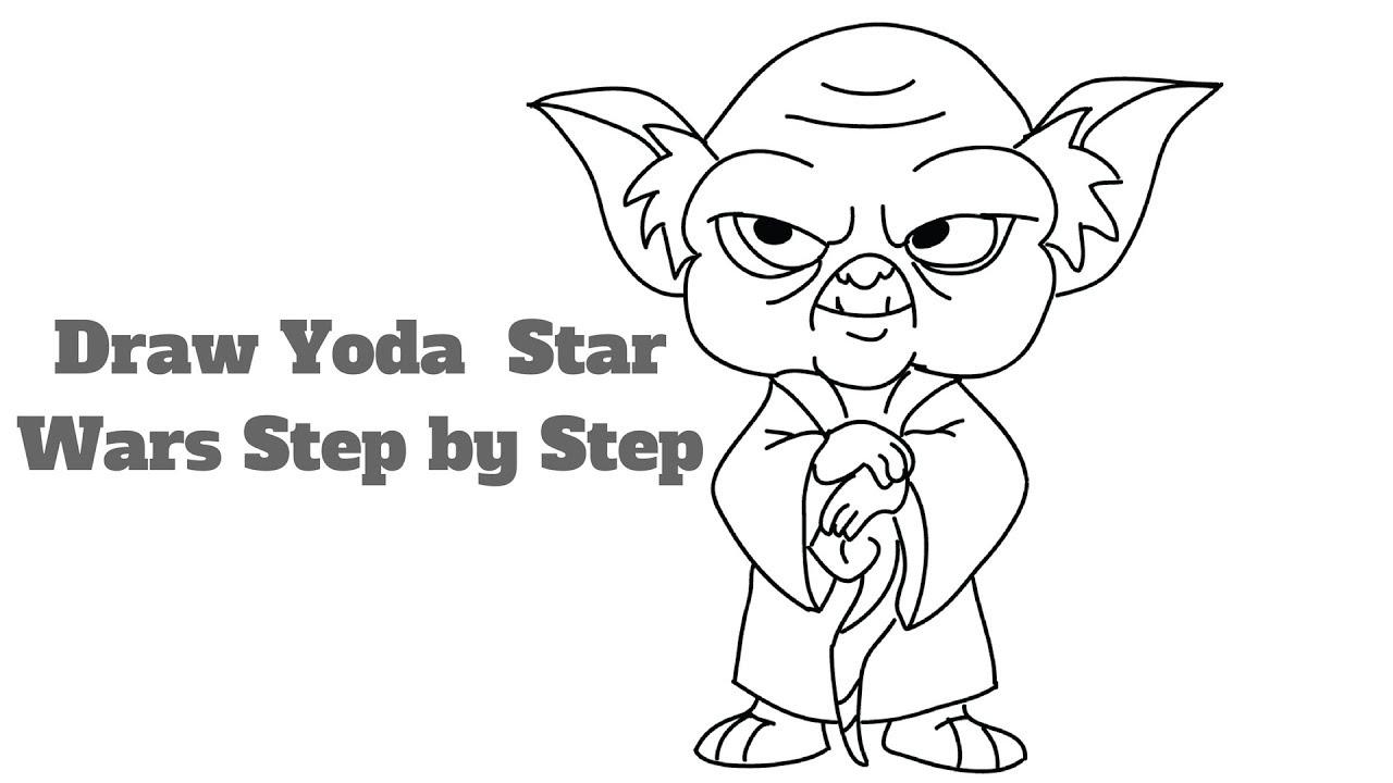 How To Draw Yoda Star Wars Step By Step Cute Cartoon Yoda Easy