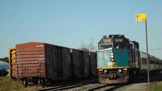 A Via rail 6416 Leads a short train out of Quebec City on 9/13/16