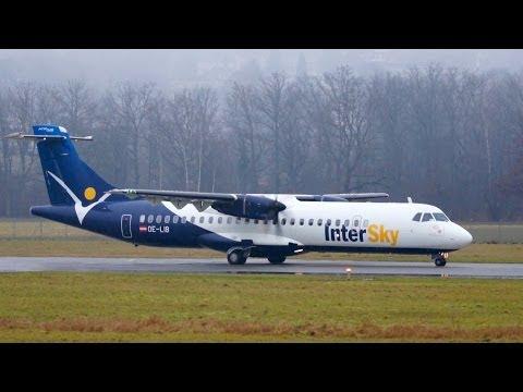InterSky ATR-72-600 Turboprop Take Off at Airport Bern-Belp
