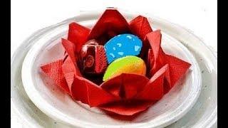 Оригами Из Бумаги на Пасху DIY Идеи Украшения Стола на Пасху из Салфеток: роза,лилия