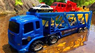 はたらくくるまが大集合!!パトカー 救急車 ゴミ収集車 ダンプトラック 郵便車 かくれんぼ Milky Kids Toy