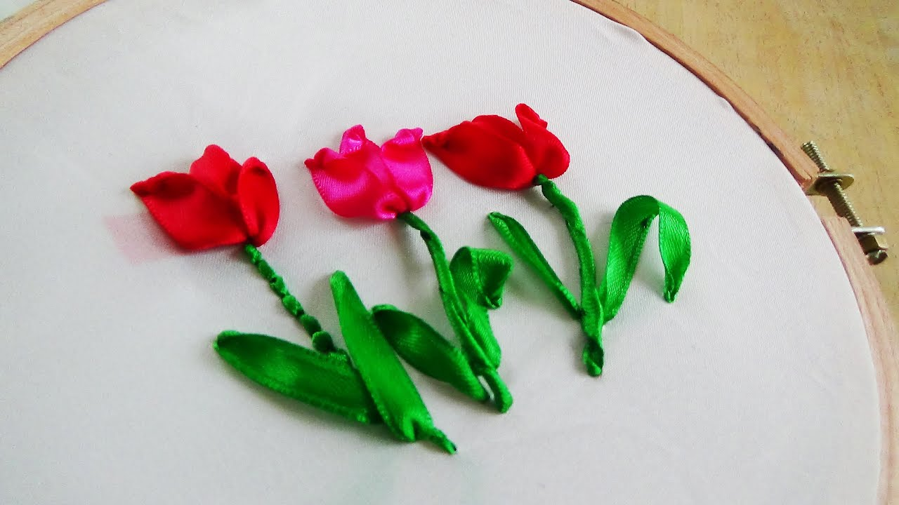 Hand embroidery tulip ribbon youtube