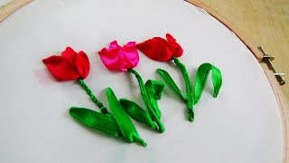 Hello! Today we are making Tulip with ribbon embroidery. Don't forg...