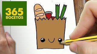 COMO DIBUJAR BOLSA DE LA COMPRA KAWAII PASO A PASO - Dibujos kawaii faciles - How to draw a bag