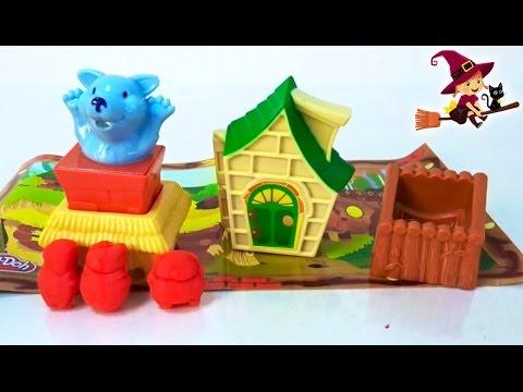 Cuento Infantil de los Tres Cerditos y el Lobo Feroz con Plastilina Play Doh