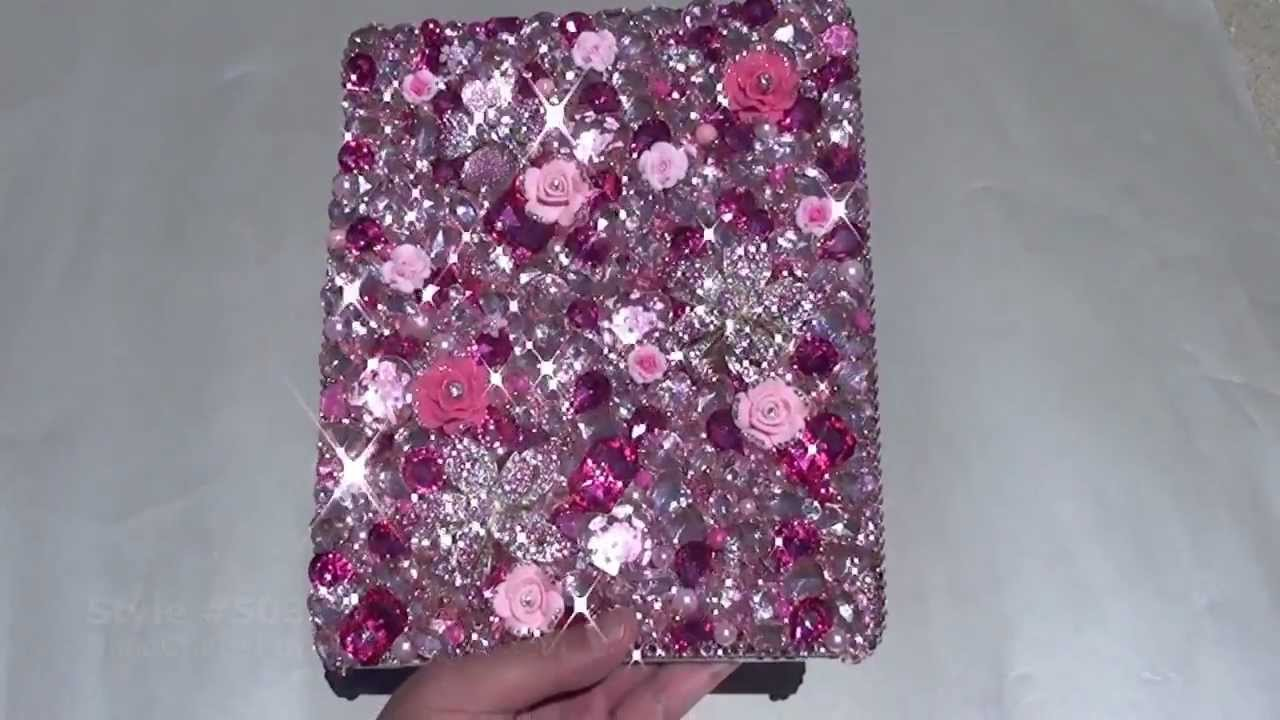 brand new 954d2 93813 SWAROVSKI CRYSTAL PINK FLOWER DESIGN BLING IPAD CASE by LUXADDICTION
