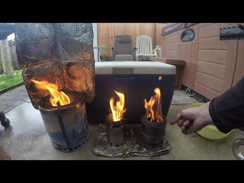Three Gasifier Stoves in Action