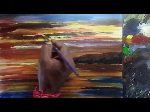 How to paint oil painting on canvas board | For beginners |  evening painting | Basics oil painting