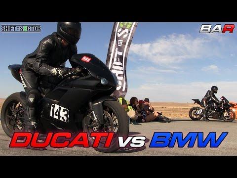 Ducati 1098 Vs BMW S1000RR - 1/2 Mile Top Speed!