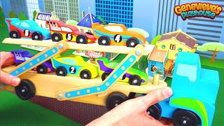 Learn Colors and Counting with Car Carrying Toy Truck!