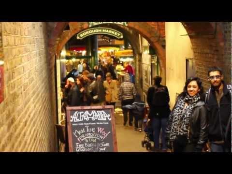 Borough Market walkthrough. London free things to do. (HD)