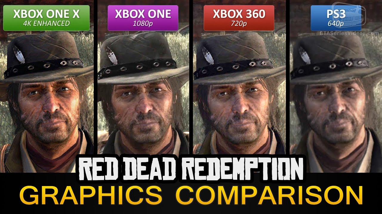 Red Dead Redemption 4K Graphics Comparison - Xbox One X 4K Enhanced / Xbox  One / PS3 / Xbox 360